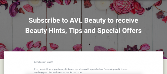 AVL Beauty Email Subscriber Page